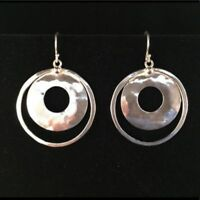 SILPADA Silver Perspectiva Hammered Double Circle Earrings W1322 POPULAR CUTE!