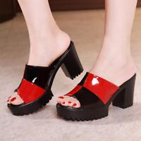 Women's High Heels Block Peep Toe Mules Ladies Slip On Party Sandals Shoes Size
