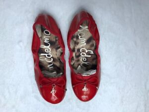 Sam Edelman Girls Shoes Size 3M Red Fiona Ballet Flat Faux Patent Leather