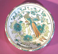 Birds Of Paradise Lotus Bowl - Green With Gilded Accents By Gold Imari Japan