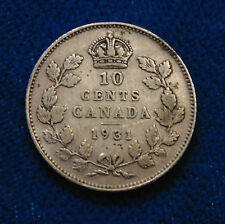 CANADA 1931 silver Ten 10 Cents dime King George V