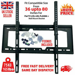 Wall Mount TV BRACKET LOAD UP TO 75KG LED LCD PLASMA TV 36-80 INCHES SUPPORT UK