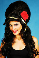 Black Amy Winehouse Wig Beehive With Red Rose Fancy Dress Costume