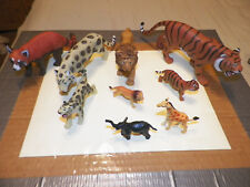 LOT OF 9 PLASTIC ZOO AND WILD ANIMAL TOYS: snow leopard, lion, tiger , etc