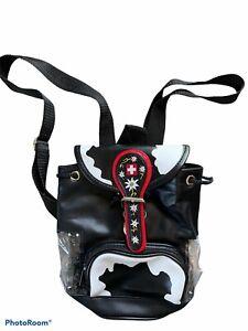 Black Cow Design Mini Bucket Drawstring Backpack Adjustable Straps Clear Sides