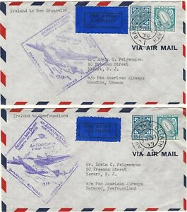 Ireland to Canada 1939 Two First Flights with scarce 1/- light blue (Scott #76)