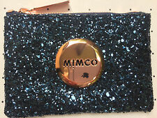 Mimco Tiny Sparks Prussian Blue Glitter small pouch clutch wallet purse Genuine