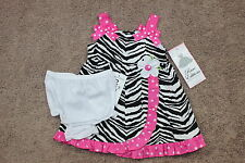 NWT Infant Girls Rare Editions Pink & Black Zebra 2pc Spring Summer Dress sz 12m