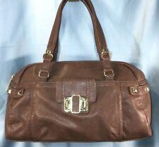 OLIVIA + JOY Brown Gold Shoulder Bag SATCHEL Tote Handbag Purse 2 Straps Studs