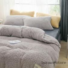 Quilt Cover Bedding Set Soft Warm Lamb Cashmere Duvet Cover Solid Fleece  Cover