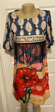 Colorful Island Flowered Dress With FRINGE Asian Tags Large (10)