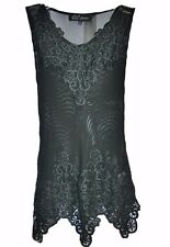 Women's Black Lace Top, See Through Top with Lace, Size: S