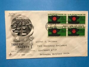 #1272 FDC Artcraft 1965 L950 Stop Traffic Accidents Safety BLOCK