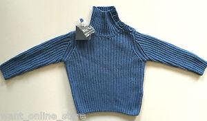 BNWT Zara Baby Jumper Top Blue Size 6 - 9 Months (74cm) Buttons on Neck