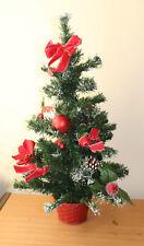 Noël pré décoré 61cm Arbre de Noël avec noeuds rouge POINSETTIA FLEURS & boules