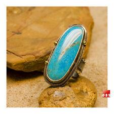 Oblong Large Artisan Sterling Kingman Turquoise Spirit Ring- Size Adjustable 7-9