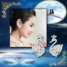 Crown Swan White AAA Zirconia 925 Sterling Silver Plated Cute Girls Stud Earring