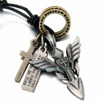 Unisex Men's Women's Vintage Cross Wings Army Tag Pendant Necklace Leather Rope