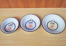 Set di 3 Falcon ROUND smalto piatto torta in metallo latta Campeggio Piatti Ciotola Pudding