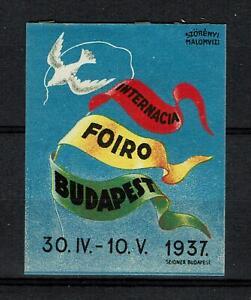 Hungary Poster Stamp Cinderellas  Internacia Foiro Budapest 1937