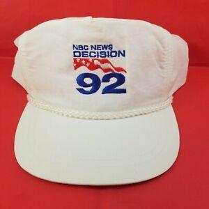 Vintage 1992 White NBC News Decision 92 Presidential Race Nylon Snapback Hat