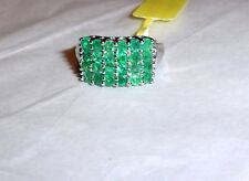 AFRICAN GREEN EMERALD ROUND BAND RING, PLATINUM / 925 SILVER, SIZE 6, 1.92(TCW)