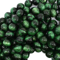 """Green Tiger Eye Round Beads Gemstone 15.5"""" Strand 4mm 6mm 8mm 10mm 12mm"""
