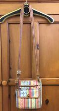 Rare FOSSIL Multi-Color Leather Cloth Sling Cross-Body Purse Bag EUC