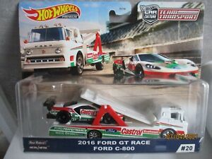 HOTWHEELS TEAM TRANSPORT 2016 FORD GT RACE AND FORD C-800 ALLOYS RUBBER TYRES