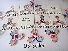 Wholesale lot 10x Hand Spinner Fidget US American Flag Finger Game white Toys
