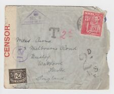 WW2 Malta Censored Cover Underpaid, Taxed Postage Due 1940