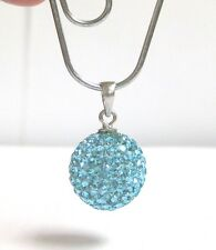 925 Sterling Silver Pendant For Chain necklace Rhinestones 12 mm Light Blue