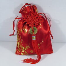 KALVION Chinese Red Silk Brocade Satin Gift Bag / Tarot & Oracle Pouch