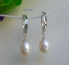 18K White GP 925 sterling silver Genuine  8-9mm drop freshwater pearl earings