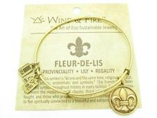 Wind and Fire Fleur-de-Lis Charm Wire Bangle Stackable Bracelet Made USA Gift
