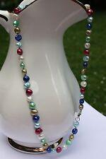 BR24 57cm Süßwasser Zucht Perle Schmuck Perlenkette Halskette Kette Collier bunt