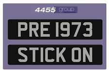 CLASSIC PRE 1973 STICK ON NUMBER PLATE & SILVER LETTERS