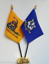 Gadsden & Connecticut Double Friendship Table Flag Set
