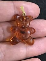Vintage Baltic Amber Teddy Bear 925 Sterling Silver Pendant  Signed AM