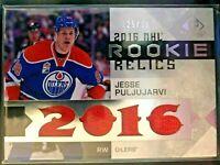 2016-17 SP Game Used Rookie Relics Jesse Puljujarvi Card #RRB-JP Serial #125/199