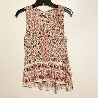 Patrons Of Peace Boho Floral Pink & Ivory Indiana Top Size Small