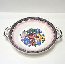 "Gmundner Keramik ""Bauernblume"" Wandschale Henkelschale ca. 25 cm Handmalerei"