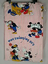 Vtg Mickey Mouse Laundry Bag drawstring wamsutta cotton swinging 30s minnie