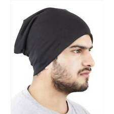 Black Unisex Woolen Skull Cap Slouchy Beanie Cap For Men & Women