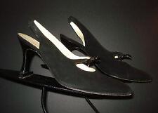 Charles Jourdan Black Velvet Bow-Tie Kitten Heel Slingback Pumps Sz. 7 MINTY!