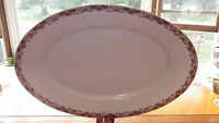 "Large 16"" Oval Fine China Serving Platter Red Rose Gold Border JBW NY Barvaria"
