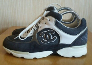 Authentic Chanel CC Logo Suede Leather Lace Up Sneakers Trainers Size 37