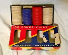 VINTAGE DENNISON POKER CHIPS- NO 42 - Embossed - 49 White, 24 Red, 21 blue CHIPS