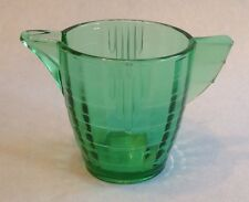 "Vintage Green Glass AKRO AGATE Stacked Band Child's Dishes Teapot 2-3/8"" No Lid"