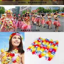 Bulk Lot 10x Hawaiian Flower Rainbow Leis Luau Beach Lei Tropical Party Favors